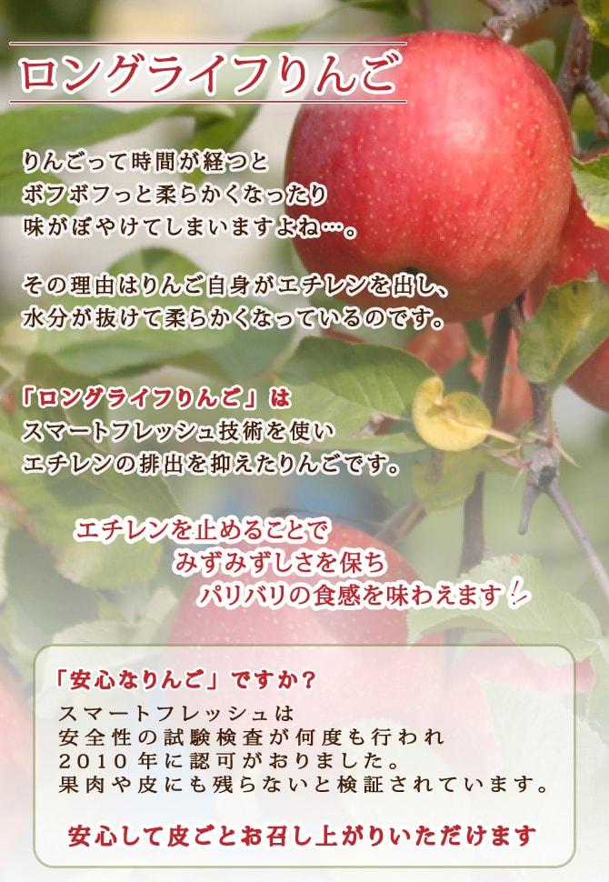 りんごって時間が経つとボフボフっと柔らかくなったり、味がぼやけてしまいますよね・・・。ロングライフりんごとは スマートフレッシュ技術によりエチレンを抑えていつまでのパリパリの食感のりんごです!